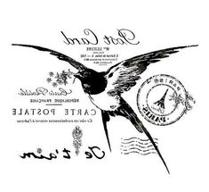 French Typography, Bird, Post Card, Ephemera - reversed and ready for image transfer! Just print to desired size on a laser printer and use Artisan Enhancements Transfer Gel to apply to painted surface. French Images, Images Vintage, French Typography, Vintage Typography, Transférer Des Photos, Wall Photos, Printable Art, Printables, Foto Transfer