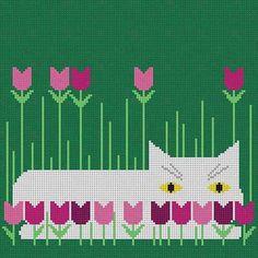 Cat / Spring Eyeglass by Charley Harper Size: x Mesh Count: 18 Needlepoint Pillows, Needlepoint Patterns, Needlepoint Canvases, Quilt Patterns, Simple Cross Stitch, Cross Stitch Charts, Cross Stitch Patterns, Wayuu Animal, Cross Stitching