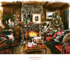 Merry Christmas - interior illustration and visualization, watercolor illustration, handmade rendering - country - Andrea Prandini