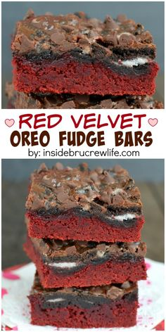 Layers of chocolate make these impressive looking red velvet bars a fun treat to share!