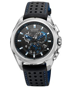 Citizen Men's Chronograph Eco-Drive Proximity Bluetooth Black Leather Strap Watch 46mm AT7030-05E - Watches - Jewelry & Watches - Macy's