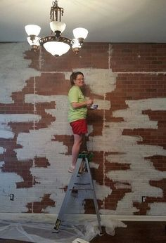 faux brick wall, diy, wall decor-- mountain peak painting technique was the way to go to avoid it looking painted in blocks. Used homemade chalk paint, Brick Veneer Panels, Faux Brick Panels, Brick Paneling, Paneling Painted, Faux Panel Wall, Fake Brick Wall, Brick Accent Walls, Brick Walls, Brick Wall Decor