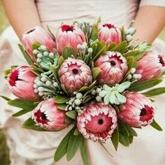 A stunning protea bouquet, koeksister cake lots more inspiration from this South African-inspired shoot! Protea Wedding, Vintage Wedding Flowers, Bridal Flowers, Vintage Floral, Bridesmaid Flowers, South African Flowers, Protea Bouquet, Protea Art, Boquet