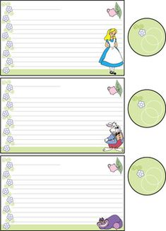 Recipe Cards 1 Alice, Alice In Wonderland, Recipe Cards - Free Printable Ideas from Family Shoppingbag.com