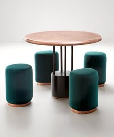 BURRACO- Round copper game table with stool by DE CASTELLI