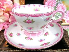 Shelley Tea Cup and Saucer Pink Pink Roses Pattern Teacup | eBay
