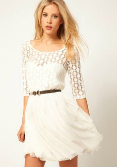 White Half Sleeve Lace Belt Mesh Yoke Pleated Dress