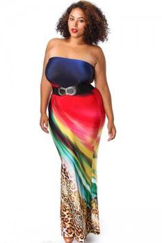 5705f224fd7 Plus Size Mixed Print Strapless Mermaid Maxi Dress