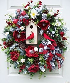 Timeless Cardinals in The Snow Wreath XL Birdhouse Snow Christmas Holiday Winter | eBay
