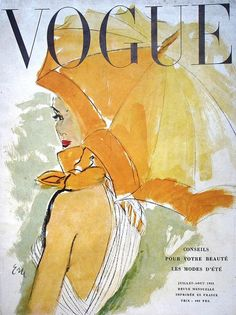 French Vogue Magazine. Cover illustration by Eric. July/August 1950.