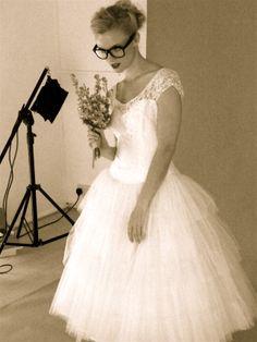 1950's lace and tulle wedding dress Elizabeth Avey.