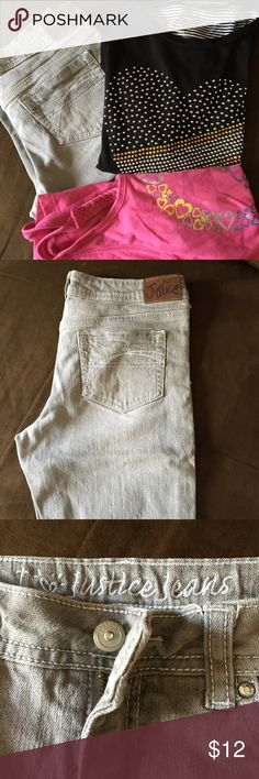 Girls 12/14/16 Bundle ❤ Grey Justice Bermuda jeans size 14? (can't see tag but appear to be size 14 as compared to my daughters other size 14 clothes). Black t with silver and gold beads that form a heart on front of shirt. Back of shirt is black and white striped and it is slightly high-lo. Size 16 but fits like a 14. Pink peace sign on front of top size 12. Slightly worn but still in great shape. A young girl will ❤❤❤❤ to add this to her wardrobe. Shirts & Tops Tank Tops