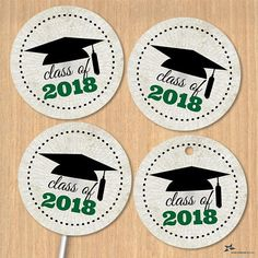 This is a high resolution instant download jpg digital file that gives you 20 (twenty) 1.5 images that would be a perfect addition to any class of 2018 graduation celebration. A graduation cap / mortarboard is perched on top of green text stating Class of 2018. The background is