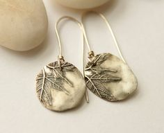 Recycled silver earrings modern rustic maple by OneIndigoMoon