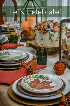A casual, colourful fall table filled with pumpkins, squirrels and brightly coloured leaves. #tablesetting #tablescape #fall #pumpkins #Depression Glass #Pottery Barn #leaves