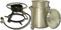 """Metal Fusion-Import 5012 Outdoor Cooker, 12-In. >  Bolt Together 12"""" Outdoor Cooker, 15"""" Top & Bottom Ring, 12"""" Deep Fryer Thermometer, Listed LP Hose & Regulator With Type 1 Connection, 50 QT Aluminum Ridge Pot With Steamer Basket & Lid, In..."""
