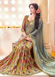 Party Wear Multi Colour Georgette Printed Saree