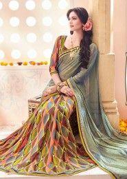 Party Wear Multi Colour Georgette Printed Saree
