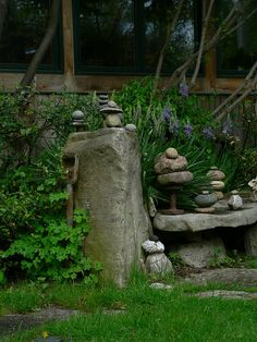 Simple n thoughtful.. with all the rocks I have it's a possibility to create this. Stone stacking - a free art form for gardens
