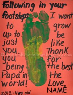 Following in your footsteps Father's Day Card + 13 more Handpritn & Footprint crafts to make Dads