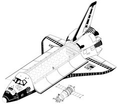 Size comparison of a Space Shuttle and a Russian Soyuz capsule.