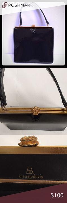 Collector's Vintage Bienen Davis Purse Stunning black patent leather Bienen Davis purse from the 1940's-1950's EUC Gold kiss closure. Very minor scratches. Vintage Vintage Bags