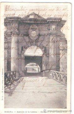 TARJETA POSTAL DE CUBA. HABANA. ENTRADA DE LA CABANA. Nº 16. M. LAZARO. (Postales - Postales Extranjero - América - Cuba)