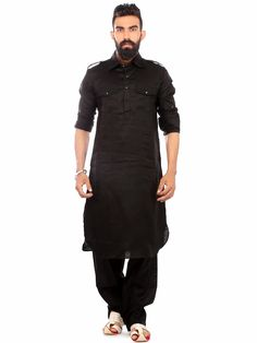 Black Linen Festive Wear Solid Pathani Suit