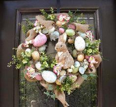 Easter Egg Wreath, Easter Bunny Wreath, Front Door Wreath Burlap, Easter Decor, Wreaths for the Door Sweet bunny & egg Easter wreath. Easter Projects, Easter Crafts, Easter Ideas, Easter Wreaths, Holiday Wreaths, Spring Wreaths, Easter Garland, Diy Osterschmuck, Diy Crafts