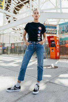 Hailey Baldwin wears Vans Old Skool Sneakers in b994384ed3a6