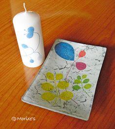 Artmorixe - Conjunto plato y vela decoupage