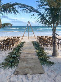 Teepee alter we Beach Wedding Attire, Destination Wedding, Beach Wedding Aisles, Mexico Beach Weddings, Wedding Mexico, Dreams Tulum Resort, Tulum Beach, Beach Wedding Inspiration, Wedding Ideas