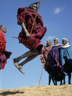 Check: Masai jumping dance - a ritual dance to pair couples.  The highest jumping male gets the most beautiful female without having to pay a dowry.