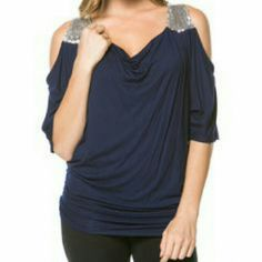 Sexy Cold Shoulder Top Gorgeous cold shoulder navy top. Sequin straps and fitted side shown in photo 3. Magic Fit Tops