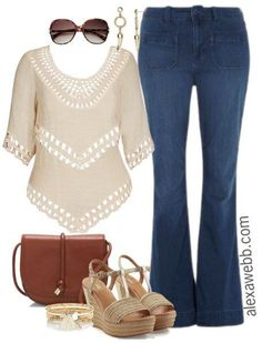 Plus Size Flared Jeans {3 Outfit Ideas} - Plus Size Fashion - alexawebb.com