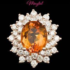 $8900 CERTIFIED 14K ROSE GOLD 4.50CT CITRINE 2.00CT DIAMOND RING #Cocktail