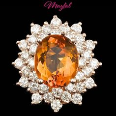 $8900 CERTIFIED 14K ROSE GOLD 4.50CT CITRINE 2.00CT DIAMOND RING #Cocktail