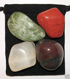INSIGHTFUL DREAMS Tumbled Crystal Healing Set - 4 Gemstones w/Description & Pouch - Bloodstone, Jade, Jasper, and Moonstone. $4.99, via Etsy.