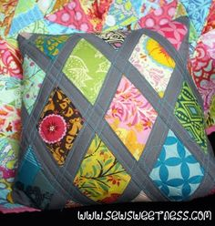 tutorial for -diamond lattice pillow-a great way to use up much loved scrap fabric & get a fun pillow!