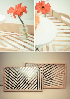 DIY serving tray - but I also like this pattern/color scheme for the coffee table!