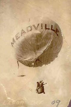 Following in the footsteps of his father, Alic Thurston began ballooning in around 1889. His first public ascension in 1891 abruptly ended when his balloon got caught on the wiring of the newly-installed street lights of Meadville and never took off.