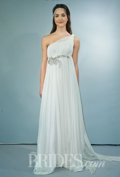 Brides.com: . One-shoulder silk and chiffon sheath wedding dress with a beaded detail at the waist, Victoria Kyriakides