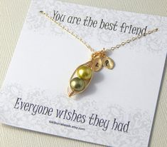 Best Friends Necklace Two Or Three Peas In A Pod by #Kikiburrabeads #friendshipnecklace#initialnecklace#bestfriendnecklace#giftboxednecklace#peasinapod#peapodjewelry www.kikiburrabeads.etsy.com @kikiburrabeads