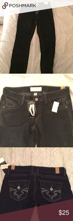 """Dark Wash Jegging """"Skinny Pull On"""" Never Worn! Never worn dark wash skinny jegging from Maurices! In size large with cute jewels on the back! Brand new! $15 OBO! Maurices Jeans Skinny"""