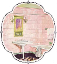 1926 Pink & Green Tile Bathroom by American Vintage Home, via Flickr