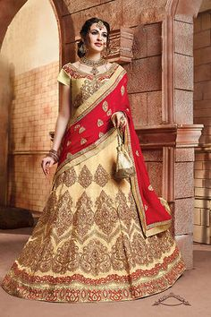 Women's Beige Color Lovely A Line Lehenga Style Beautified With Embroidery Crystals Stones Work All Synchronized Properly With All The Pattern And Style And Design Of The Attire. . Choli - Blouse Length Approx.16-18 . Lehenga - Lehenga Length Approx. 42 To 44. Shop Lehenga Cholis at glowroad.com