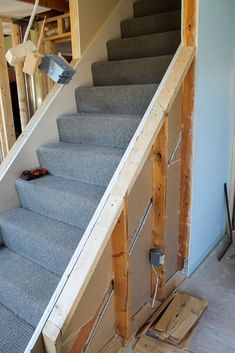 A guide for how to open up an interior staircase will give you a tutorial for how to open up walls. This open floor plan concept was very easy to DIY. Stairwell Wall, Basement Staircase, Stair Walls, Interior Staircase, Open Staircase, Staircase Remodel, Staircase Makeover, Staircase Railings, Basement House
