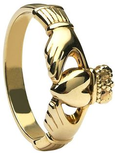 Yellow Gold Maids Claddagh Ring at Claddaghrings.com $299 #claddaghring #claddagh