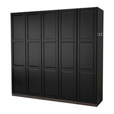 IKEA PAX wardrobe with Undredal doors, in black-brown