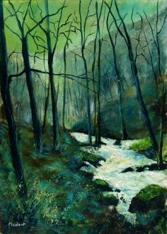 River in winter, painting by artist ledent pol